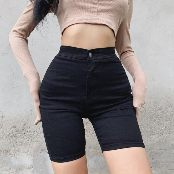 High Waist Stretchy Denim Shorts