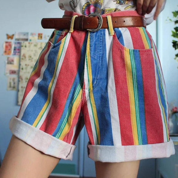 Oversized Retro Multicolour Striped Shorts - Tailored Shorts