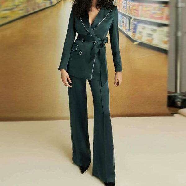 Piped Wide Leg Suit -Double-Breasted Blazer & Trouser Suit