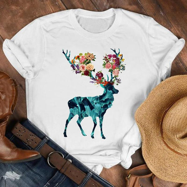 Short Sleeve 90s Floral Deer Plus Size T-Shirt
