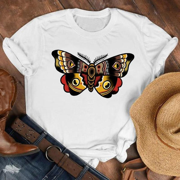 Retro Plus Size Butterfly T-Shirt