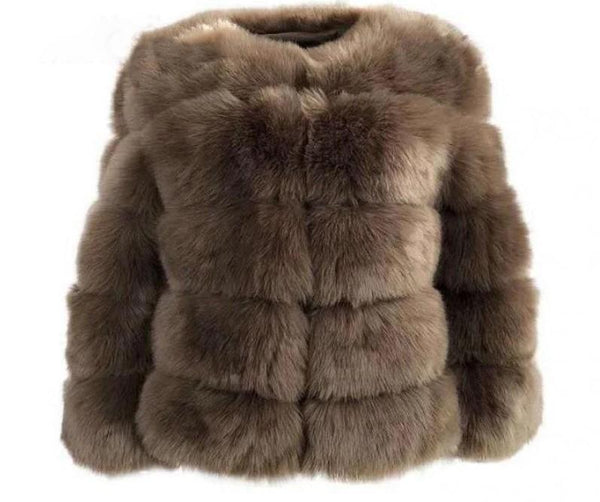 Luxurious Brown Plus Size Faux Fur Coat