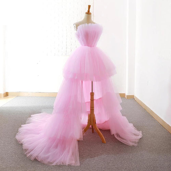 Pink Tulle Prom Dress - Strapless