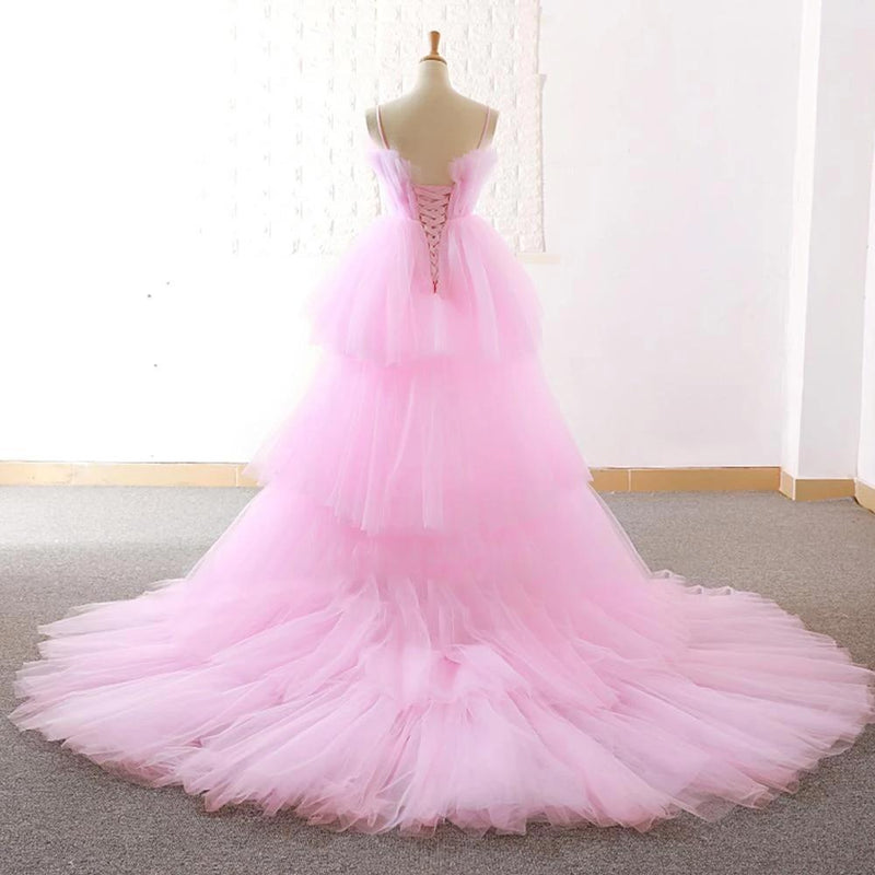 Strapless Tulle Floor Length Dress - Tiered Wedding Dress