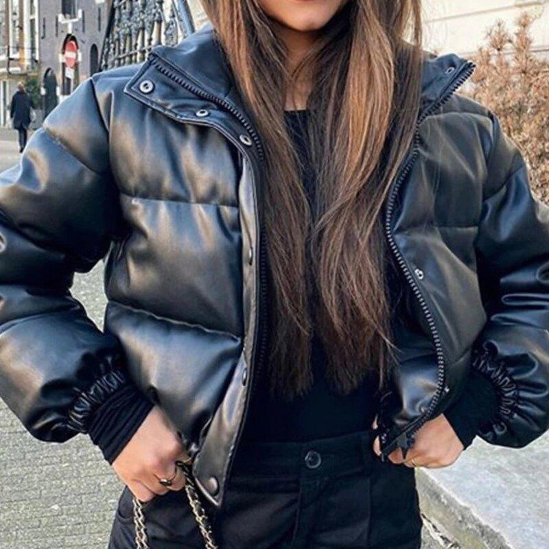 Faux Leather Jacket - High Collar Faux Leather Puffer Jacket