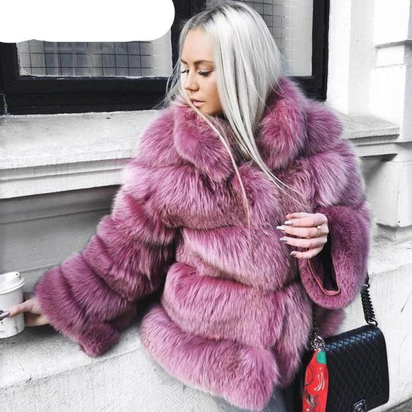Faux Fur 5 Ring Winter Coat