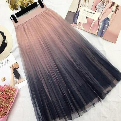 Maxi High Waist Pleated Gradient Skirt