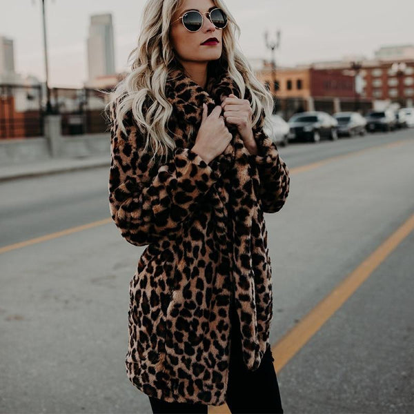 Faux Fur Thick Coat - Leopard Print