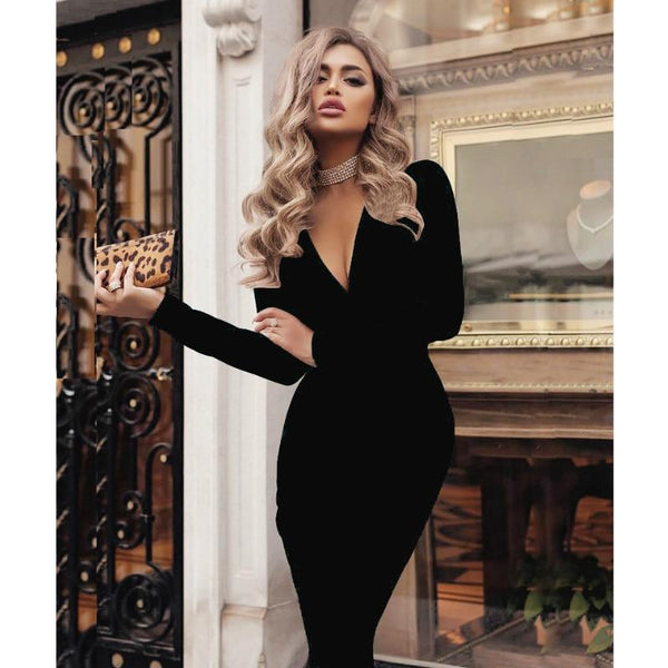 V-Neck Bodycon Dress - Long Sleeve - Plunge