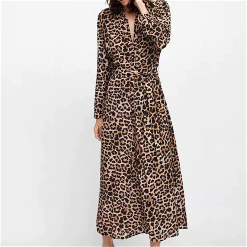 Leopard Wrap Dress - Front Split Animal Print Dress