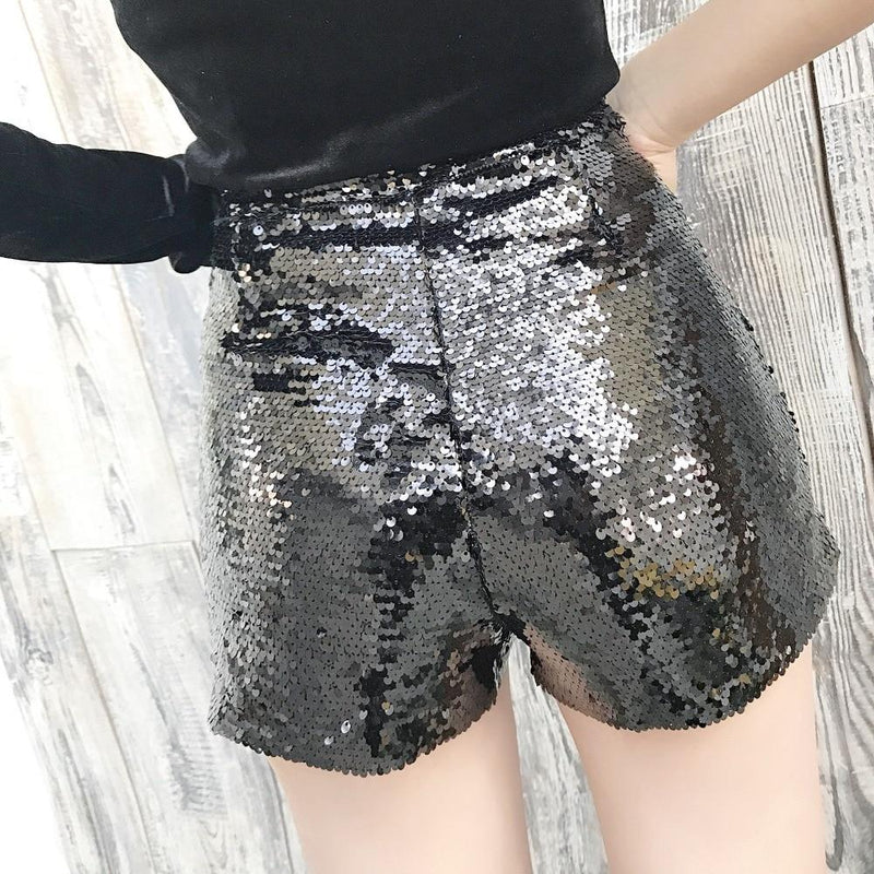 Sequin Shorts - O-Ring Zip Up - High Waist