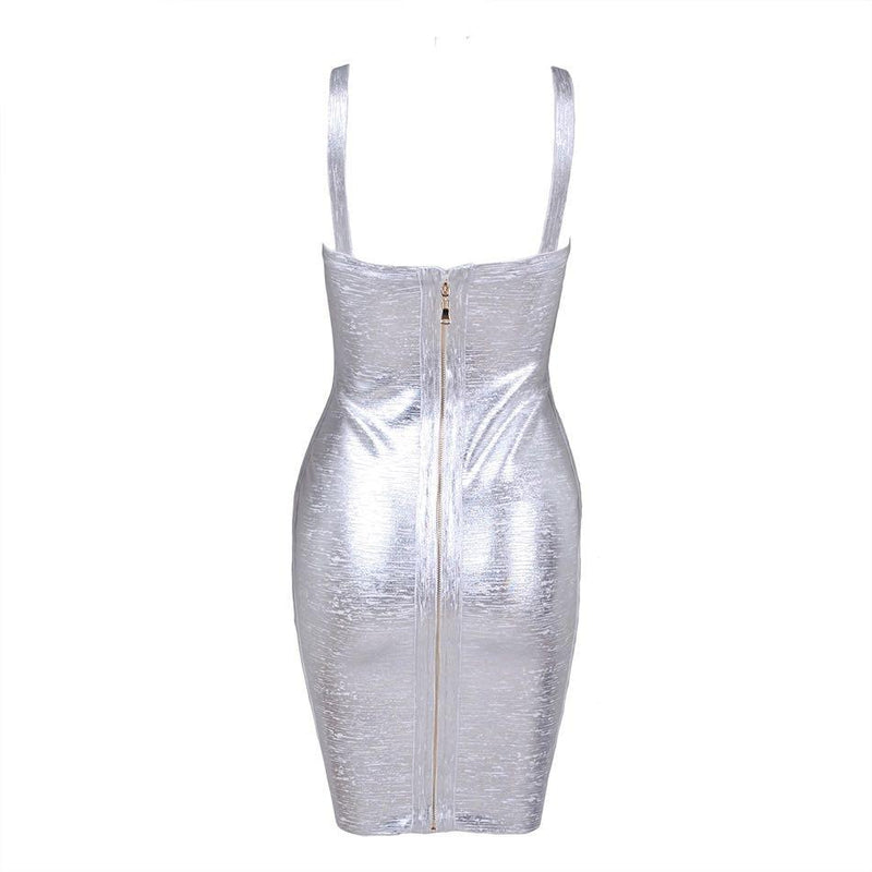 Metallic Bandage Bodycon Dress - Mini