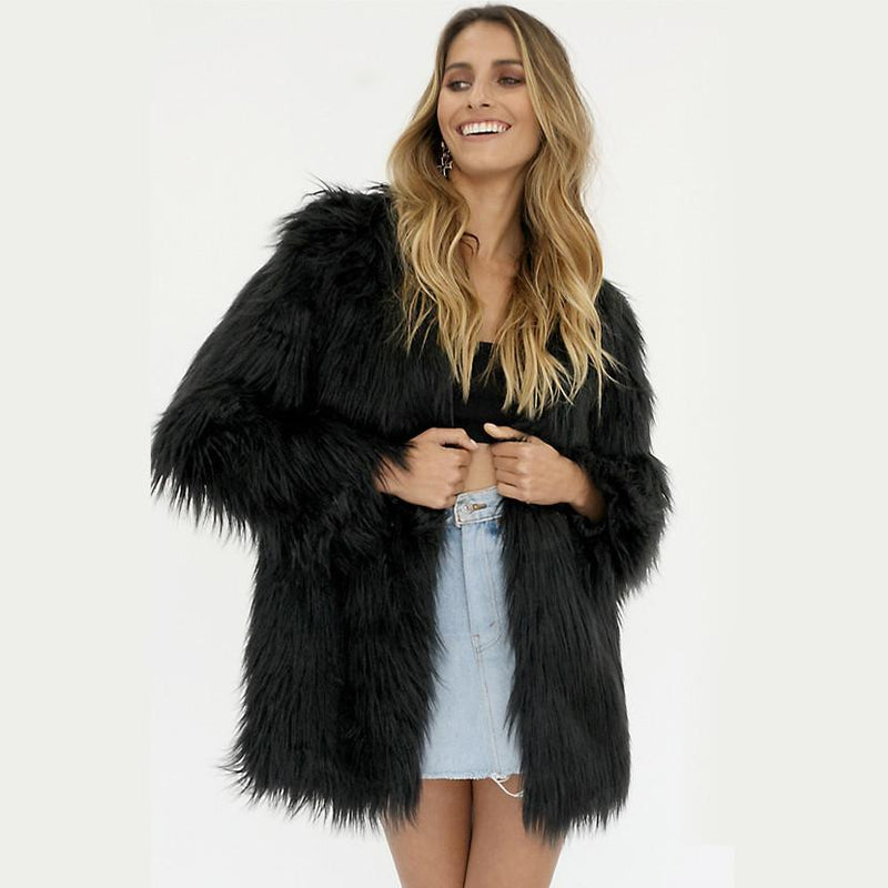 Plus Size Shaggy Faux Fur Coat