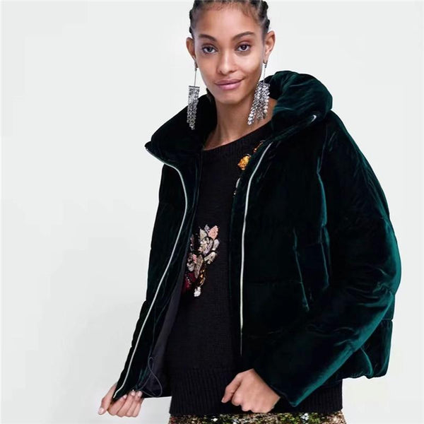 Velvet Padded Faux Fur Coat