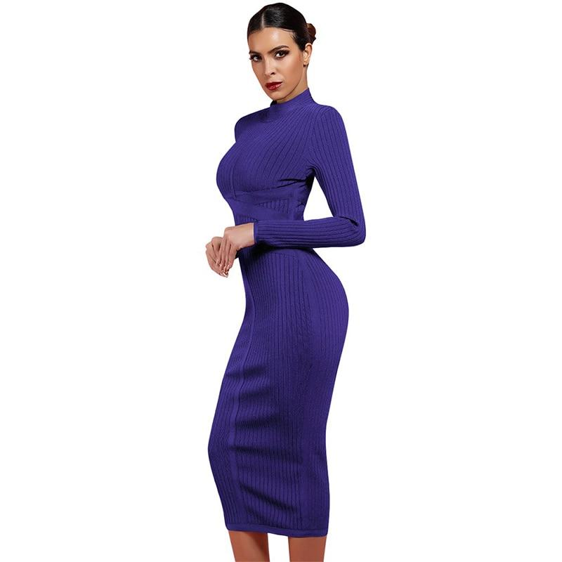 High Neck Bandage Midi Dress - Long Sleeve - Cross Waist