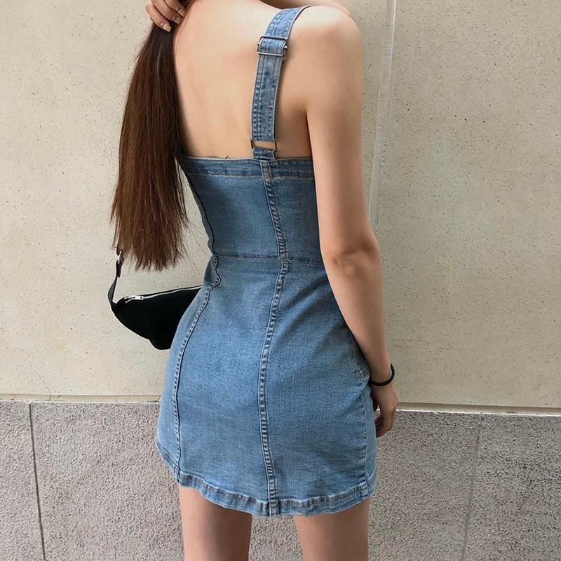 Denim Button Through Spaghetti Strap Mini Dress