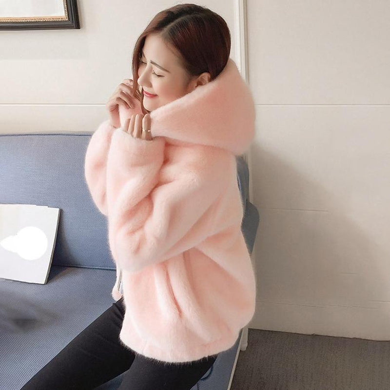 Soft Plush Faux Fur Zip Up Hoodie