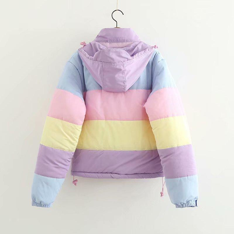 Rainbow Stripe Puffer Jacket