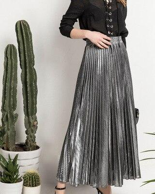 High Waist Pleated Skirt - Maxi Metallic