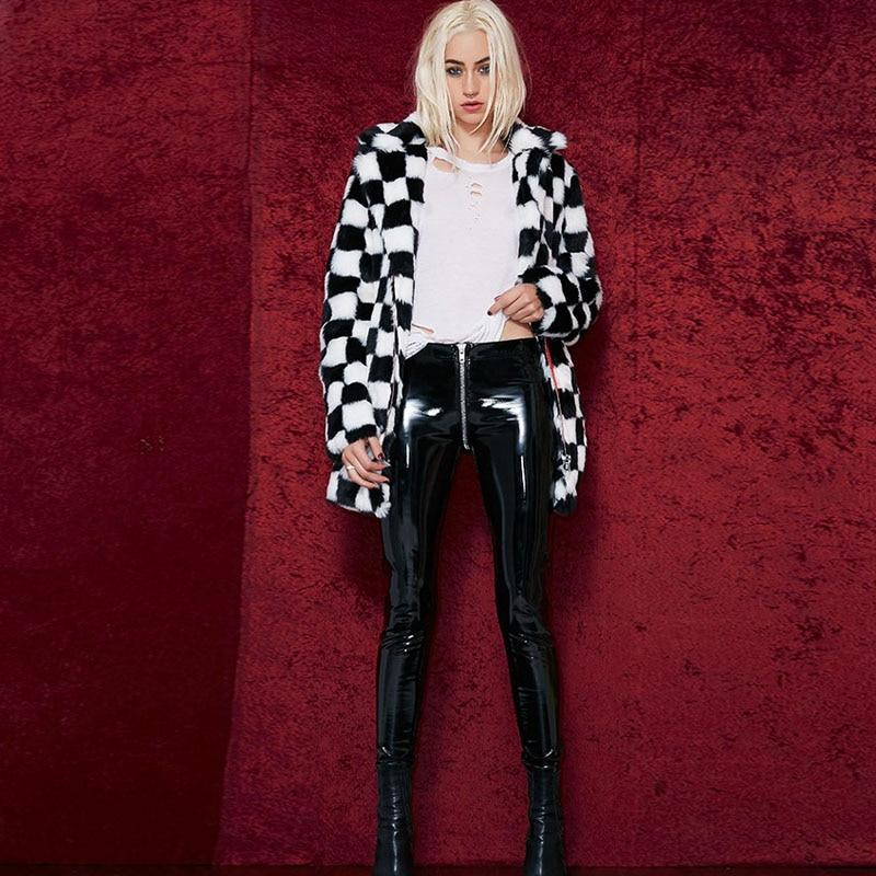 Wet Look PU Leather Leggings with Back Zip - Push Up Faux Leather Leggings