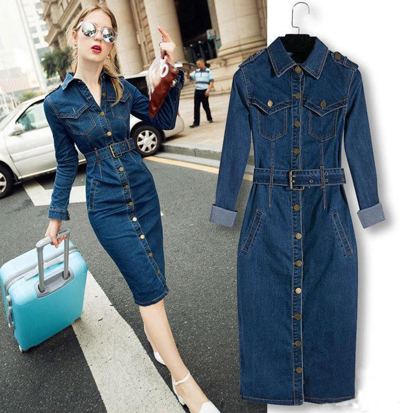 Denim Button Down Long Sleeve Shirt Dress with Belt