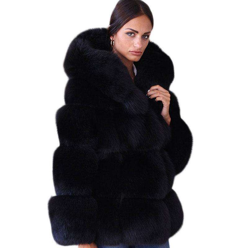 Oversized Faux Fur Coat With Hood