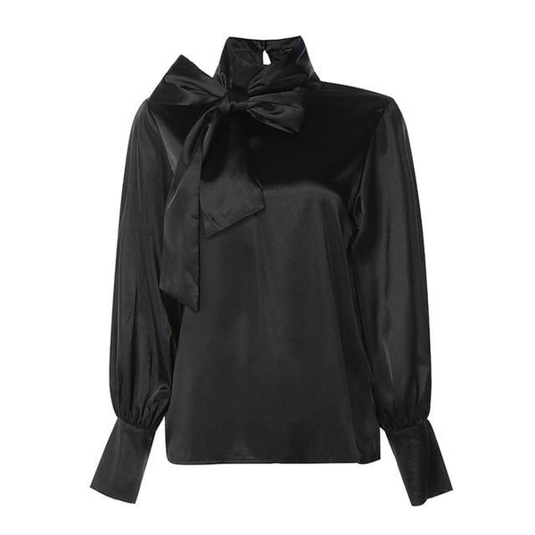 Satin High Neck Blouse - Long Puff Sleeve