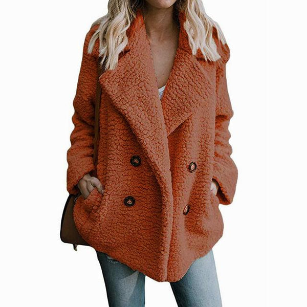 Faux Fur Coat - Teddy Double Breasted