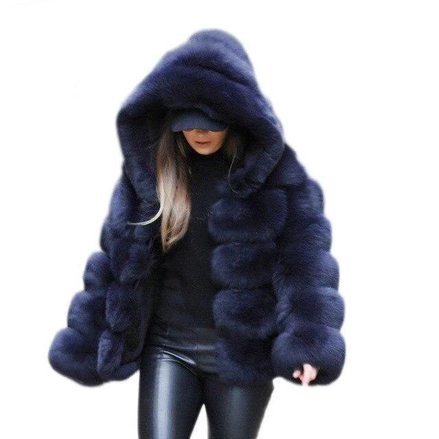 Hooded Faux Fur Panel Coat