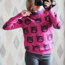 Hot Pink Cartoon Cat Print Jumper
