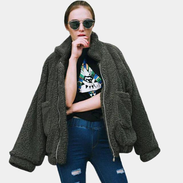 Faux Fur Teddy Bomber Jacket