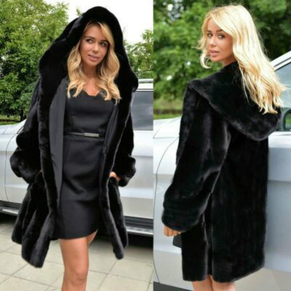 Long Faux Fur Hooded Coat - Luxurious Soft