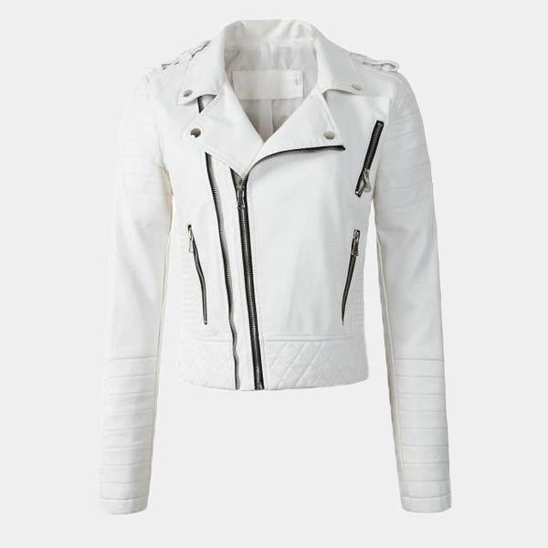 Faux Leather Jacket - Zipper Detailed