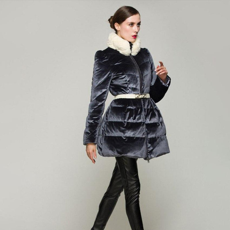 Velvet Coat With Contrast Faux Fur Collar