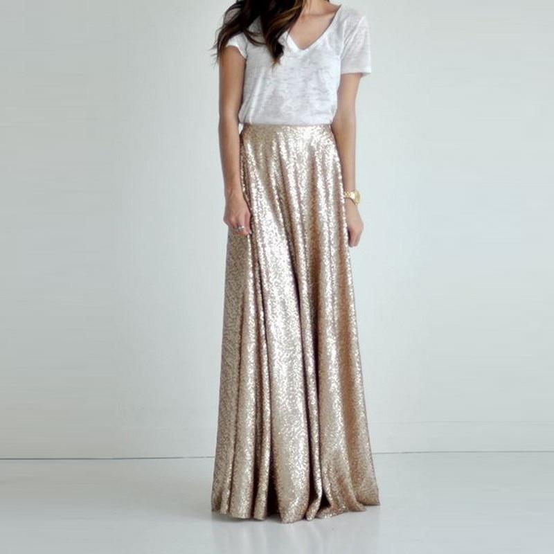 Gold Sequin Maxi Skirt - Plus Size