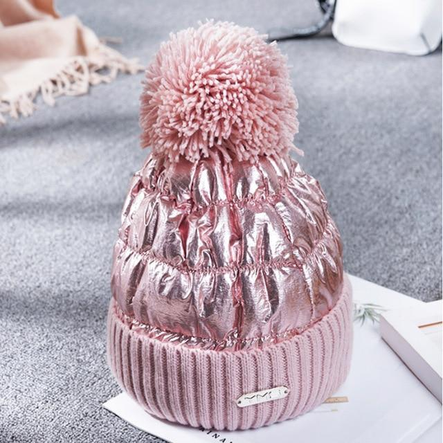 Waterproof Quilted High Shine Beanie With Pom Pom