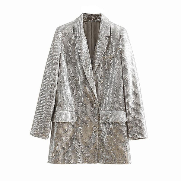 Sequined Blazer - Silver Double Breasted
