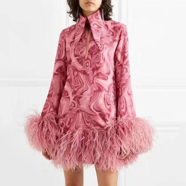 Pink Feather Mini Dress - Long Sleeve