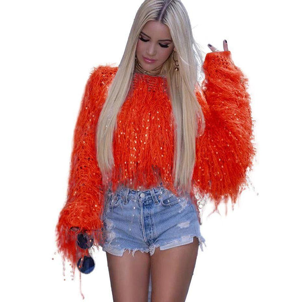 Fringed Knit Crop Sweater