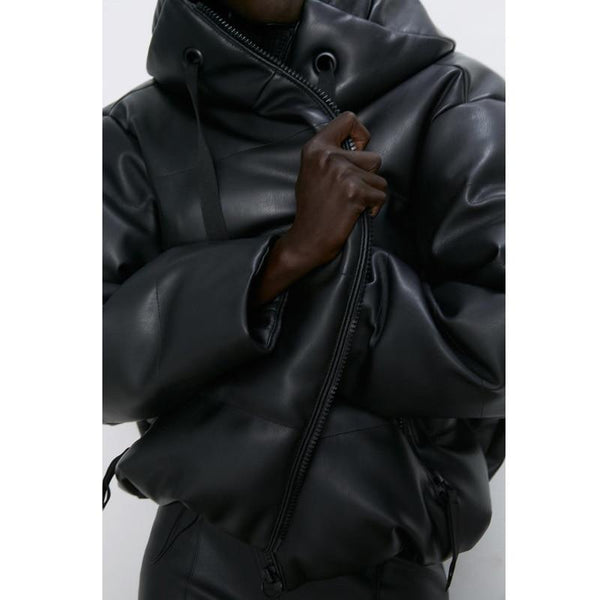 Faux Leather Oversized Jacket - Hooded