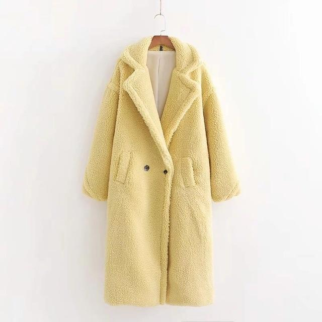 Faux Fur Teddy Long Coat - Oversized Style