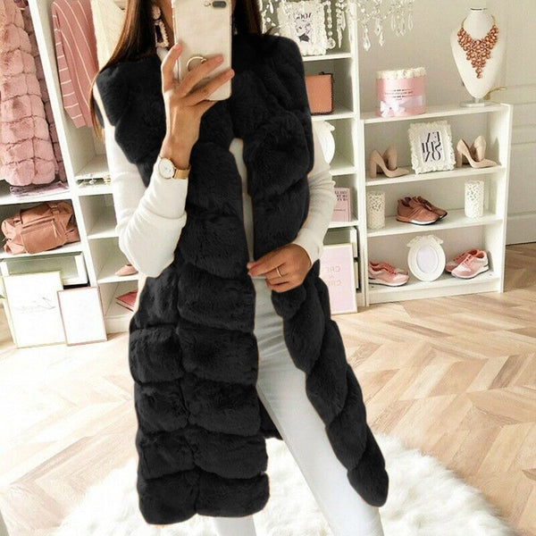 Faux Fur Vest Warm - Sleeveless