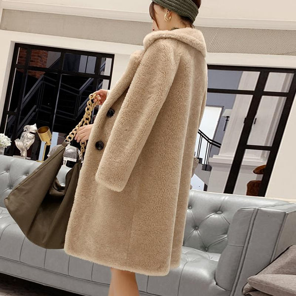Winter Faux Fur Coat - Turn Down Collar