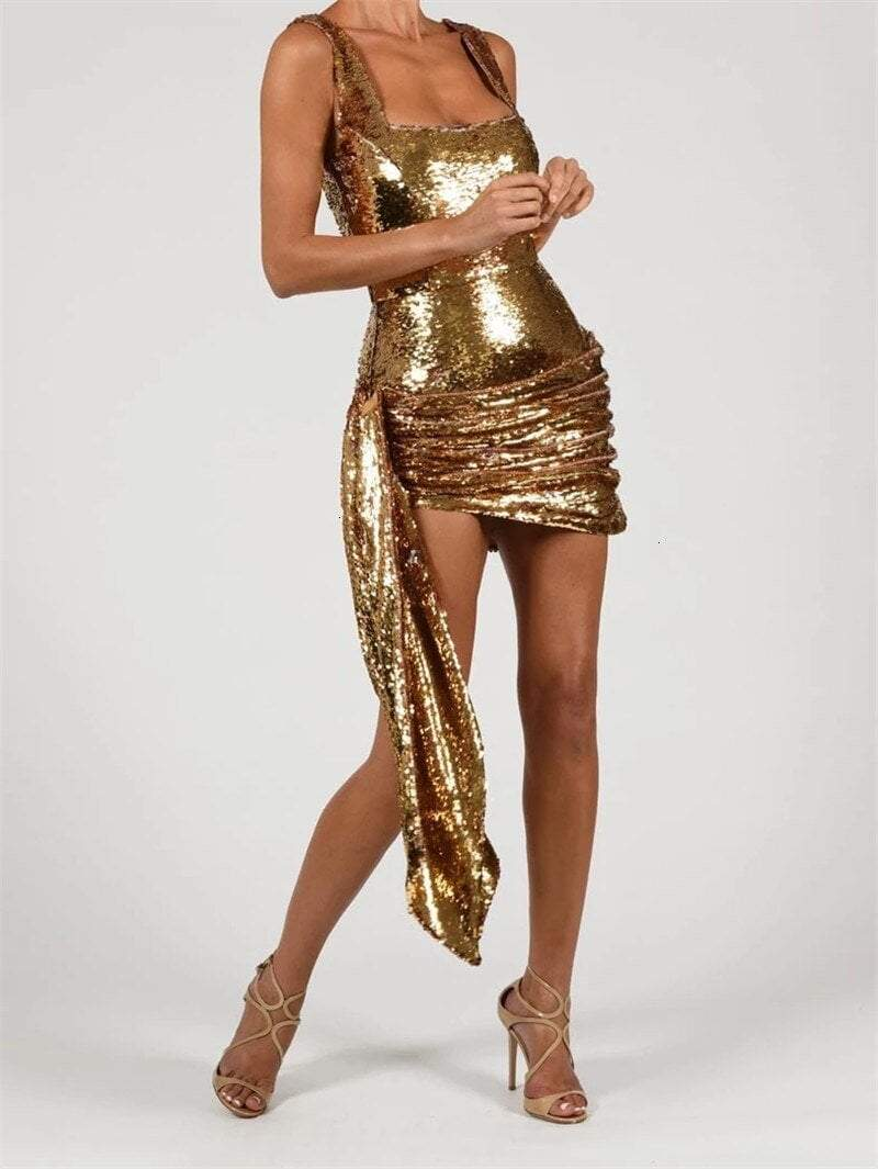 Sequin Drape Dress - Sleeveless Mini