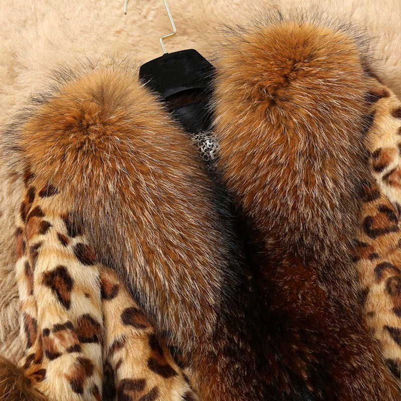 Faux Fur Trim Leopard Print Coat