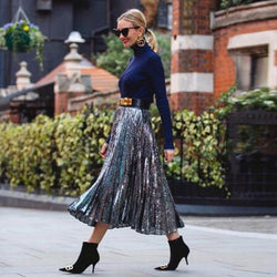 Sparkly Sequin A-line Pleated Midi Skirt - High Waist