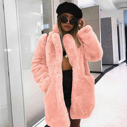 Bright Faux Fur Coat With Pockets