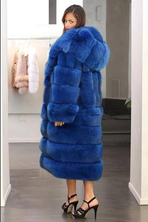 Long Faux Fur Coat - Winter Hooded Panel Coat