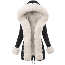 Long Faux Fur Hooded Coat - Contrast