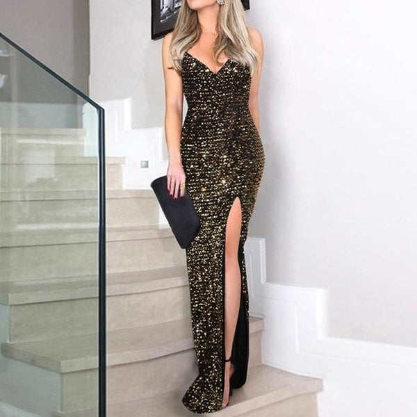 Sequin Dress - Front Split - Spaghetti Strap - Maxi